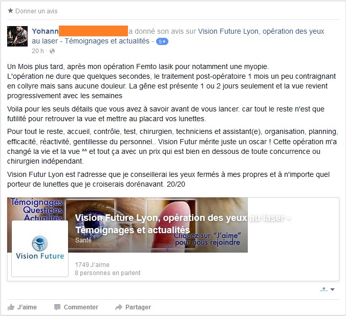 screenshot du témoignage Facebook du 18/10/2015